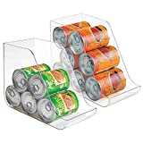 vegetable can holder - mDesign Large Standing Kitchen Can Dispenser Storage Organizer Bin for Canned Food, Soup, Dog Food, Pop/Soda - Compact Vertical Holder - BPA Free, Food Safe Plastic - 2 Pack, Clear