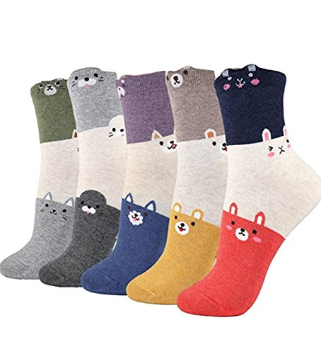 (5 Pairs Womens Teen Girls Cute Animal Casual Cotton Crew Socks Perfect Gifts (Trio))