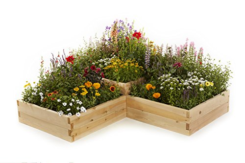 Naturalyards Raised Garden Bed, Multi-Level L-Shaped (Rustic Cedar, 2'x4'x4'x16.5'') by Naturalyards
