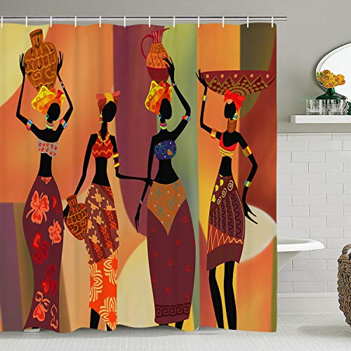 African Egyptian Women Shower Curtain with 12 Hooks, African Girl Shower Curtain Waterproof Durable Afro Lady Shower Curtain