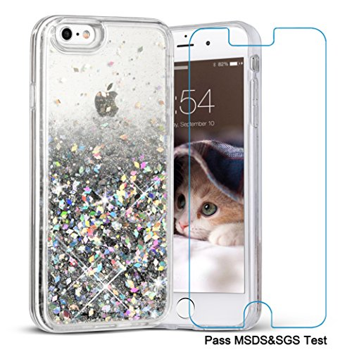 iPhone 6 Plus Case, iPhone 6S Plus Case, Maxdara [Tempered Glass Screen Protector] Protective Glitter Liquid Bumper Case