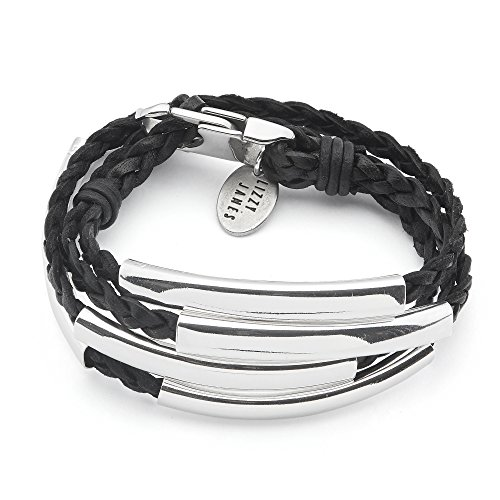 (Lizzy James Mini Addison Wrap Bracelet Silverplate in Natural Black Braided Leather (Petite))