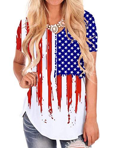Women Tee Shirts Cotton Short Sleeve T Shirt AmericanFlag Tops V Neck Blouses S