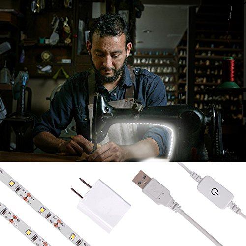 LED Strip Lights for Sewing Machine, 6.6ft Cord with Touch Dimmer Switch,USB Powered, USB Adapter Included, 5pcs Adhesive Wire Clips, Cool White (6000K) 3M Adhesive Tape on back, Fits All Sewing -  Derlson, DS-SML100