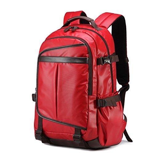 BUKUANG Hombres Bolsa De Hombro Bolsa De Moda Mochila Bolsa De Viaje Ordenador De La Escuela Secundaria Estudiante Bolsa De Ocio Masculino,Black Red