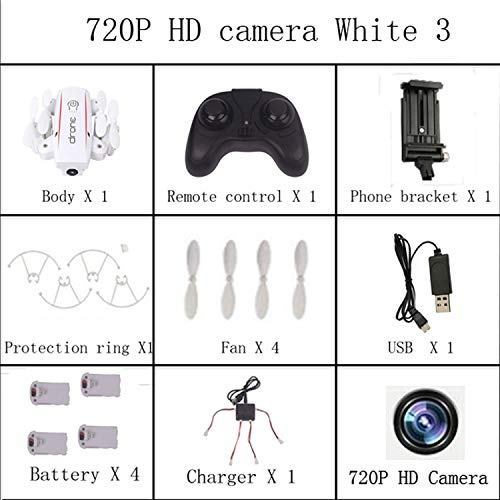 RC Drone with 720P HD Camera X01HW Mini Foldable WiFi FPV Real-time High Range RC Helicopter Quadcopter for Beginner,720P Camera White 3