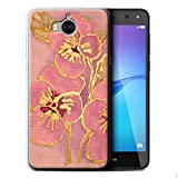 STUFF4 Gel TPU Phone Case / Cover for Huawei Y5 2017/Y5 3 / Baby Pink Design / Floral Silk Effect Collection
