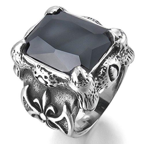 Silver Tone Black Agate (INBLUE Men's Stainless Steel Ring Simulated Agate Silver Tone Black Dragon Claw Knight Fleur De Lis Size10)