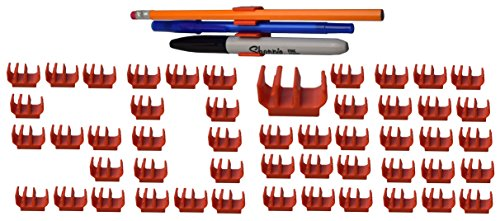 (50 pk) Medium Duty Adhesive Pencil Holder Pen and Marker Clip – Works well on hard hat, tool box, desk, locker, fridge, memo pad, side of monitor or …