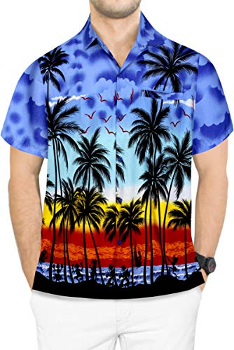LA LEELA Men's Camp Hawaiian Shirt Short Sleeve Button Down Shirt XXL Blue_Aa106