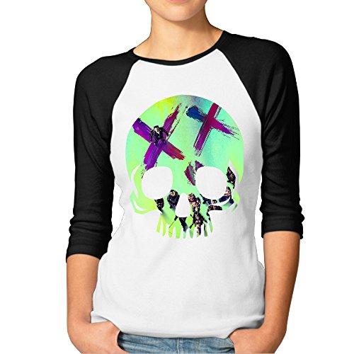 [Hotgirl4 Women Kicked In The Teeth Raglan Baseball T Shirt Color Black Size L] (Harley Quinn No Costumes)