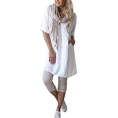 Qingsiy Vestidos de Mujer, Vestido de Camiseta, Camisola Blusa ...