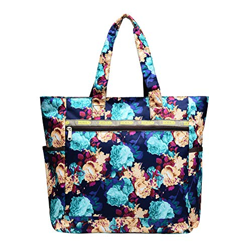 Nylon Large Lightweight Tote Bag Shoulder Bag for Gym Hiking Picnic Travel Beach Waterproof Tote Bags (BlueRetro TB)