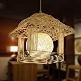 DEN Rattan nest handmade garden children's personality small house creative warm restaurant chandeliers,A,30cm