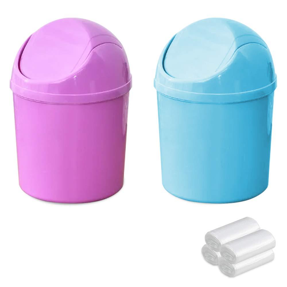 SITAKE 2 Pcs Plastic Mini Wastebasket Trash Can with Swing Lid with 4 Rolls of Trash Bags, Tiny Desktop Waste Garbage Bin for Home, Office, Kitchen, Vanity Tabletop, Bedroom, Bathroom (Blue + Purple)