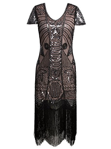 Vijiv 1920s Vintage Inspired Sequin Embellished Fringe Long Gatsby Flapper Dress Black Beige (Halloween 1930 Costumes)