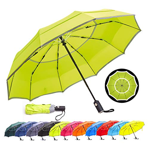 HOSA, [2020 Version Auto Open Close Compact Travel Vented Windproof Waterproof UV Protection Double Canopy Folding Umbrella with Safety Reflective Strip for Night-Time Use (Grass Green, 42 Inch)