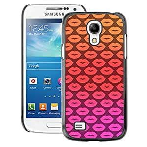 A-type Arte & diseño plástico duro Fundas Cover Cubre Hard Case Cover para Samsung Galaxy S4 Mini i9190 (NOT S4) (Lips Kisses Pink Pattern Yellow Love)