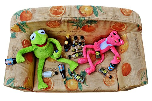 LAMINATED 33x22 inches POSTER: Kermit The Pink Panther Friends Celebrate Drunk Alcohol Drink Bottles Toys Fun Funny Play Stuffed Animal Children Figure Plush Frog Panter Isolated Cropping