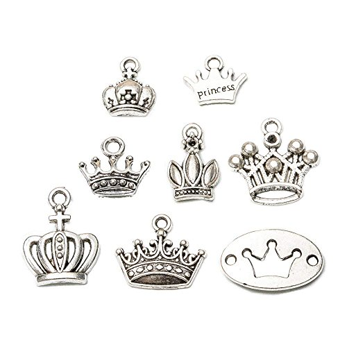 (32pcs Mixed Vintage Antique Silver Plated Crown Charm Pendants Charms for Bracelet Necklace Jewelry Making Findings (32pcs-Crown))