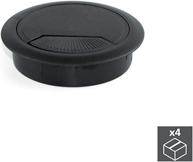 Emuca 3196417 Set Von 4 Runden Kabeldurchführungen Durchmesser 60mm Zum Einfügen Am Schreibtisch Aus Schwarzem Kunststoff Ø80mm 4un Baumarkt