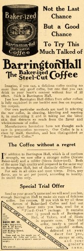 1909 Ad Baker Importers Co. Barrington Hall Coffee - Original Print Ad