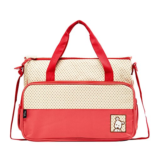 SoHo diaper bag Royal Red 8 pieces nappy tote bag for baby mom dad stylish multifunction travel large capacity durable includes changing pad stroller straps insulated bottle case Red ()