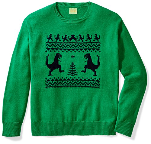 Ugly Fair Isle Unisex Jacquard Dinosaur Crewneck Christmas Sweater X-Small Green/Navy X-Small Green/Navy - Fair Isle Crewneck Sweater