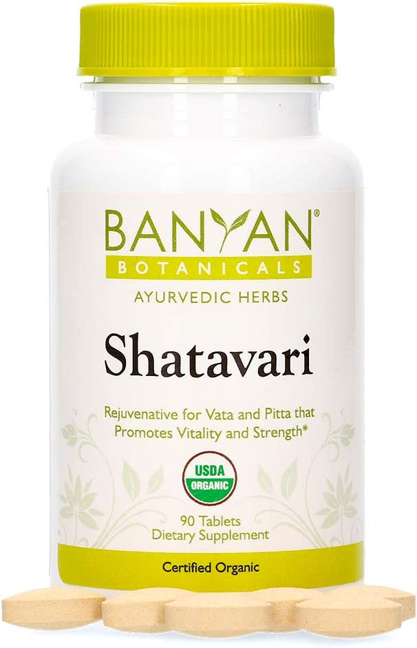 Banyan Botanicals Shatavari Supplements – Organic Shatavari Root Extract – Calming, Cooling, Supports Rejuvenation, Promotes Energy & Vitality* – 90 Tablets – Non GMO Sustainably Sourced Vegan: Health & Personal Care