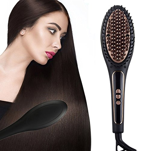 - AWSTECH Hair Straightening Brush, 2 in 1 Ionic Brush Ceramic Electric Hair Straightener Comb with 9 Heating Settings and Temperature Lock Function,Black