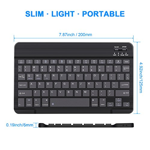 Wireless Keyboard - Tsmine Universal Ultra-Slim Wireless Keyboard Portable Wireless Keyboard for iOS/Android /Windows Mac OS PC Tablet and other Wireless Enabled Devices - Black(7.87 inch) by Tsmine (Image #4)