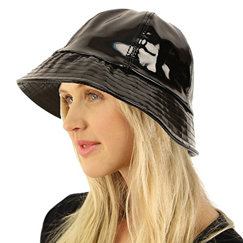 Black Cap Womens Adjustable (All Season Waterproof Rain Foldable Bucket Fisherman Adjustable Hat Cap Black)