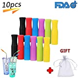Silicone Straw Tips Multicolored Food Grade Silicone Tips Cover for 6MM Outdiameter Stainless Steel Drinking Straws (Color Random, 10pcs)
