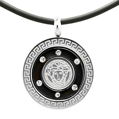 Stainless Steel Rubber Cord Pendant Charm Chain Necklace w/ Crystal Around Face -