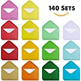 Supla 140 Sets Colorful Mini Envelopes with White Blank Business Cards Note Cards 14 Colors Small Gift Card Tiny Envelopes Pocket Envelopes Bulk 4'' x 2.7'' Love Notes
