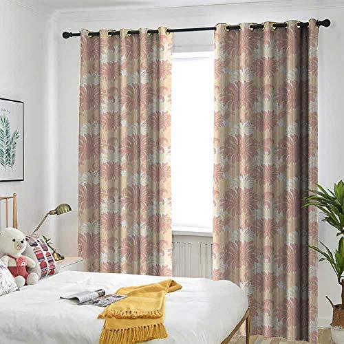 TRTK Decor Curtains by Suitable for Living Room Bedroom Room Dark Panel Garden Art,Vintage Flower Blooms Composition Ornamental Spring Season Illustration,Coral White Peach -