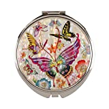 Compact Mirror Magnifying Make Up Double Sided Mother Of Pearl Tiger Butterfly Mms20