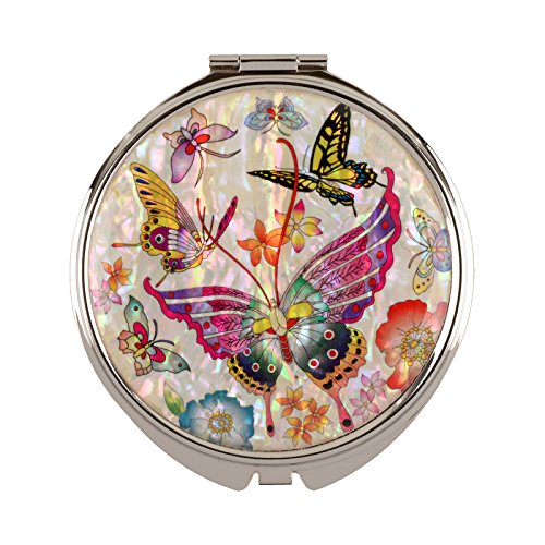 Compact Mirror Magnifying Make Up Double Sided Mother Of Pearl Tiger Butterfly Mms20 by MOP Antique