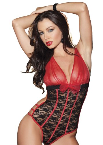 Shirley of Hollywood Women's Sexy Peek A Boo Mesh and Stretch Lace Teddy