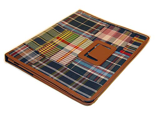 - Polo Ralph Lauren Patchwork Leather iPad Tablet Cover Case Stand Plaid Madras