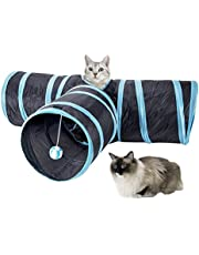 SlowTon Cat Tunnel Toy, Crackle Paper Collapsible Tube 3 way kitten tunnel toyThree Connected Run Road Way Tunnel Catnip House with Fun Ball Puzzle Exercising and Playing for Kitten, Rabbits and Small Dogs