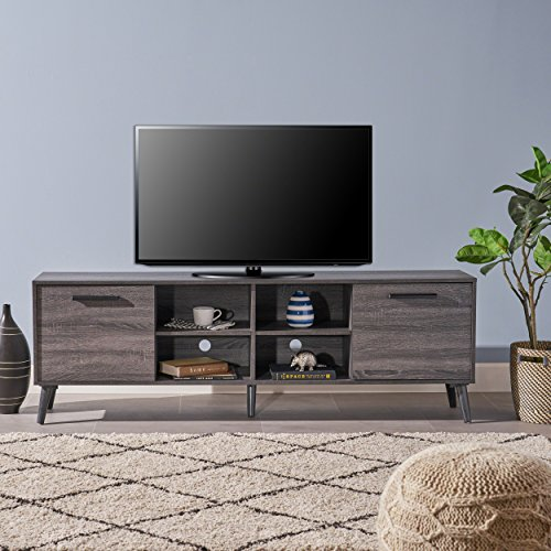 Great Deal Furniture 304406 Sade Mid Century Modern Faux Wood Overlay TV Stand, Grey Oak, (Deals Tv Stand Oak)