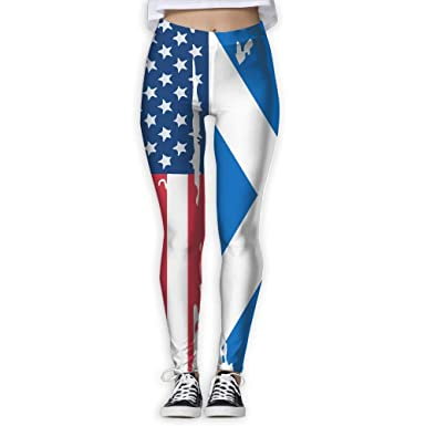 best& Yoga Pants, Womens Power Flex American Scotland Flag ...