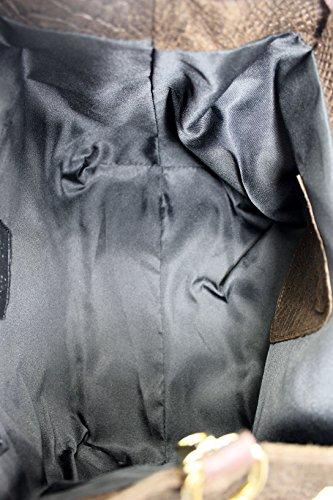 Bolsos de marca comunitaria Mujeres Bolso, Cartera de libros con estampado pitón, 30x24x13cm, 100% cuero auténtico Made in Italy Marrón
