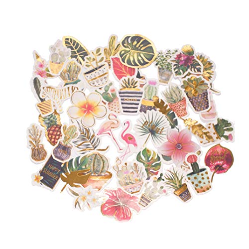 Tropical Scrapbook Stickers - STICON Cute Tropical Rain Forest, Succulent Plants and Cactus, Flamingo Stickers for Laptop, Scrapbook, Kid Craft (48 Pieces)