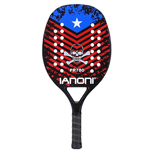 ianoni Beach Tennis Racket,Carbon Fiber Grit Face with EVA Memory Foam Core Beach Tennis Racket (PR780)