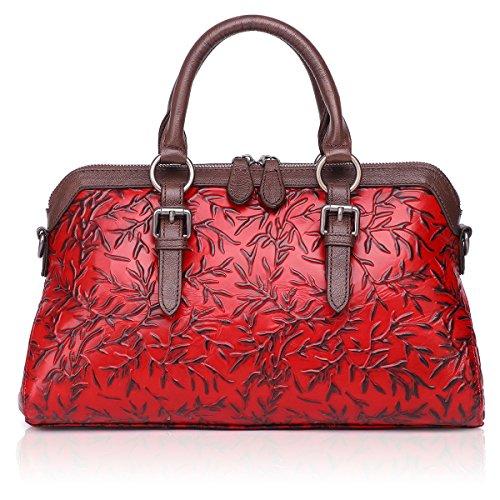 APHISON Women Genuine Leather Handbag Large Capacity Tote Bags Embossed Design Shoulder Bag For Ladies 81084 (RED) ()
