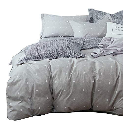 Uozzi Bedding 3 Piece Gray Duvet Cover Set (1 Duvet Cover + 2 Pillow Shams) with the help of Dots & Cross, 800 - TC Luxury Hypoallergenic Queen soft Winter Comforter Cover with the help of Zipper Closure, 4 Corner Ties Black Friday & Cyber Monday 2018