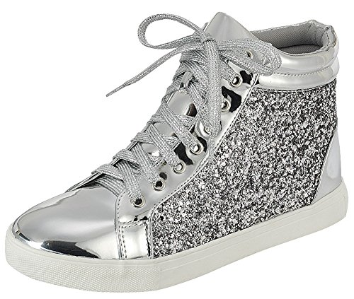 - Cambridge Select Women's High Top Closed Round Toe Lace-Up Glitter Flatform Fashion Sneaker,6.5 B(M) US,Silver