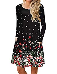 Women's Fall Long Sleeve Pockets T Shirt Dress Casual Loose Swing Dresses